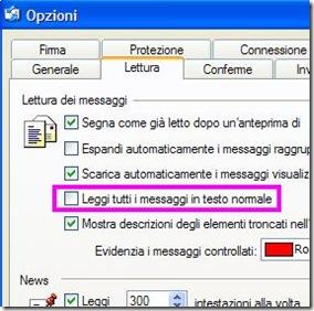 Outlook Express Abilitare la lettura in formato HTML di tutte le email