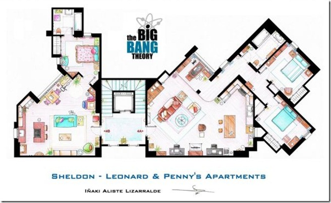 Television-Series-Apartments-Floor-Plans-Big-Bang-Theory