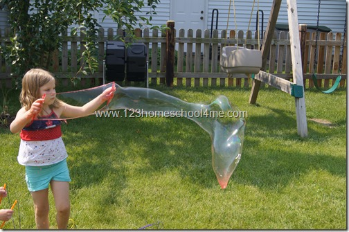 Giant Bubble with homemade bubble solution