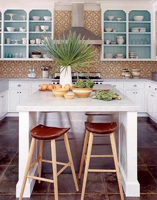 I love how the color pops as an accent here. via House Beautiful.
