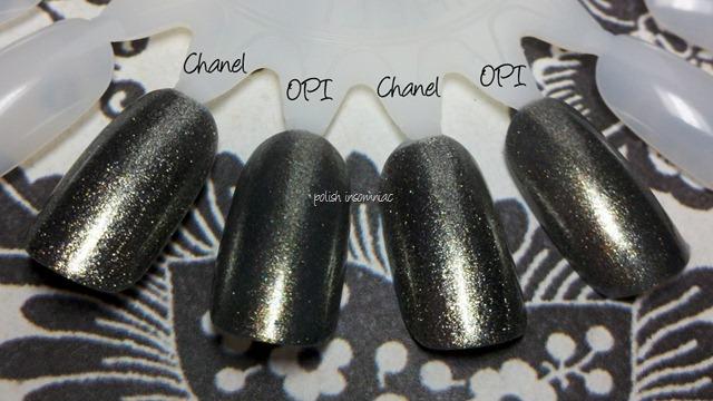 Chanel Graphite vs OPI Number One Nemesis 3 coats