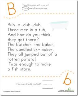 Letter B rub a dub dub