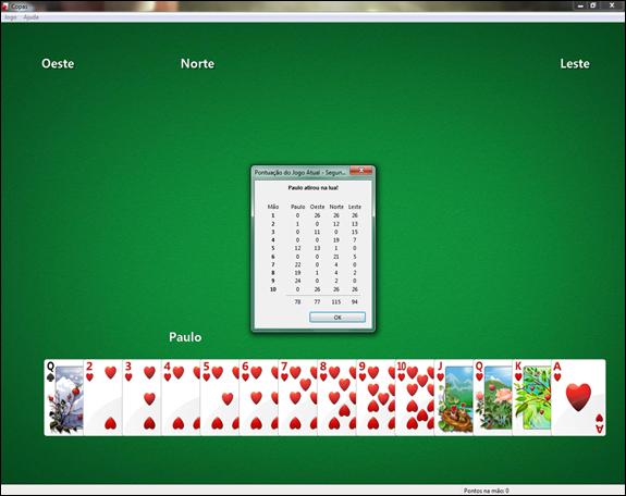 O jogo termina quando um dos jogadores ultrapassar 100 pontos. O jogador que tiver a menor pontuação quando o jogo terminar vence.