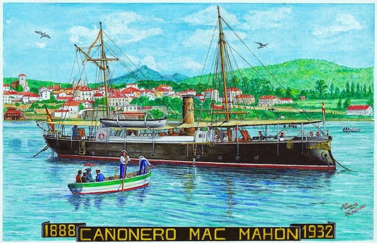 Ilustración artistica del cañonero MAC-MAHÓN. Acuarela de Manuel Garcia Garcia. Nuestro agradecimiento.jpg