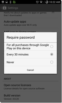 Playstore password