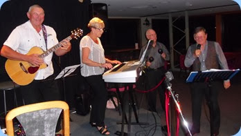 And the band played on! L to R: Kevin Johnston; Jan Johnston; Peter Brophy (percussion); and, Len Hancy (vocals).