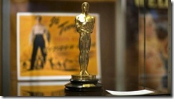 Gold-plated 1941 Oscar statuette on a black lacquered stone (pre-World War II) base, with rectangular brass plaque on the front that reads: Academy First Award | to  Orson Welles | For Best Writing Original Screenplay of |&quot;Citizen Kane&quot; is being auctioned off at Sotheby's in