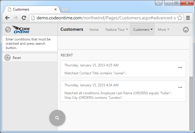 The history of searches on Advanced Search screen.