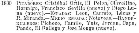 Diestros que han toreado en Madrid en 1830 (1880 Efemerides taurinas Leopoldo Vazquez)