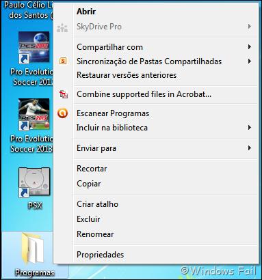 Menu de contexto do Windows - opções removidas pelo CCleaner