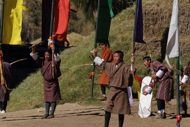 Team mates cheering their team during an archery competion in Thimphu, Bhutan