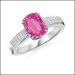 Cushion Pink Sapphire and Diamond Ring