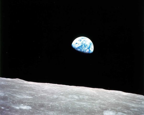 Earthrise from Earth's moon. This view of Earth greeted Apollo 8 astronauts as they emerged from behind the Moon after the lunar orbit insertion burn. NASA