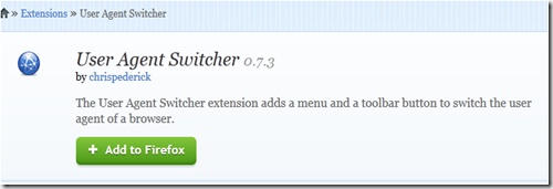 user agent switcher addon