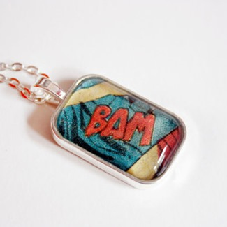 BAM Recycled Vintage Comic Book Necklace from Comic Salvage