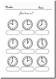 aprender la hora 3 4