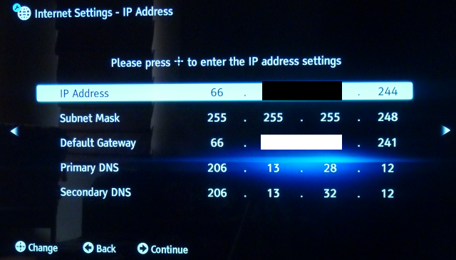 Sony Fixed IP Settings Blanked