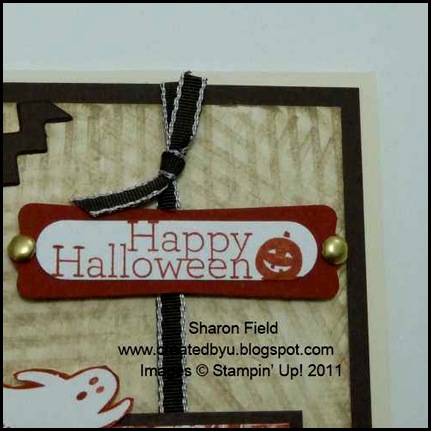 sweet centers, halloween, card, technique, grunge, stripes, drag technique, KISS technique, splitcoaststampers, sharon_Field, timeless_trim, big_Shot, die_Cut, punches, brads