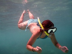 Jenn snorkeling in the clear water of the Kuna Yala.