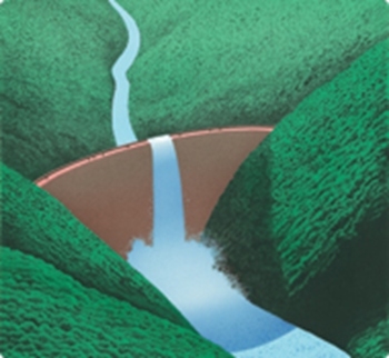 Illustration of a river flowing over a blocking wall, for the Boston Consulting Group report 'Global Wealth 2013: Maintaining Momentum in a Complex World'. Graphic: Boston Consulting Group