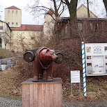 bear outside the weihenstephan brewery in Freising, Bayern, Germany