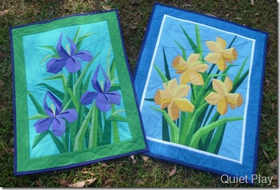 Irises and daffodils paper pieced