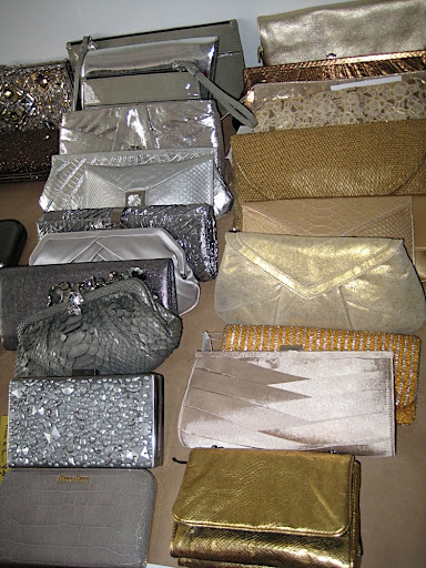 Silver and gold handbags in every shape, shade, and texture.