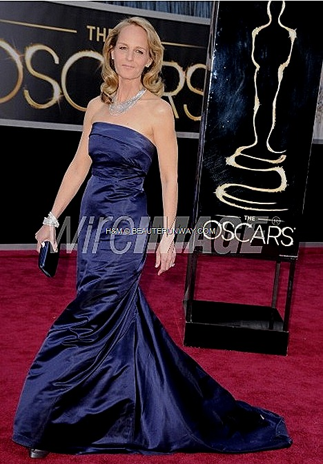 HELEN HUNT H&M Conscious Spring Summer 2013 couture gown  leather clutch couture midnight-blue silk satin full length strapless gown, Martin Katz Diamond necklace, ring, bracelets Best Supporting Actress for The Sessions