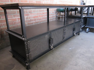 7' long Ellis console with legs, and skeleton key padlocks