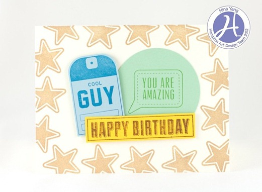 Nina Yang Echo Park Hampton Art Cool Guy Birthday Card