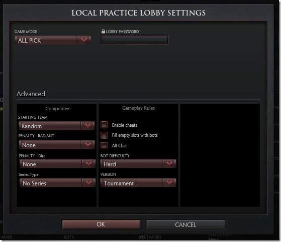 Dota 2 LAN local lobby settings