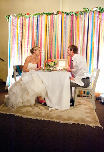 Savannah Wedding, ribbon curtain, sweetheart table