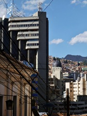 La Paz, highrises and colonial houses.