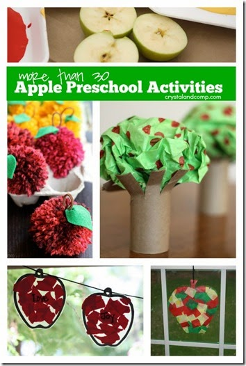 30 Apple Preschool Activiites #preschool #fall #craftsforkids
