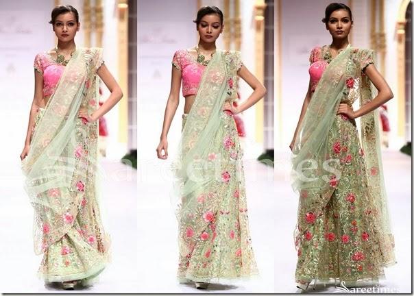 Pallavi_Jaikishan_Green_embellished_Lehenga_Style_Saree