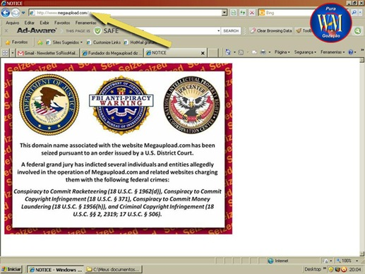 1 A Megaupload - Página principal aviso FBI