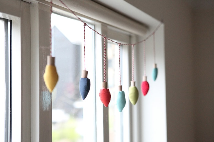 a string of retro fabric christmas light bulbs