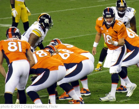 'Manning calling plays, Broncos vs Steelers 2012' photo (c) 2012, Craig Hawkins - license: http://creativecommons.org/licenses/by-nd/2.0/