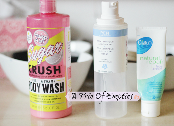 A trio of empties soap and glory sugar crush body wash ren cleasinf gel oilatum natural repair face cream