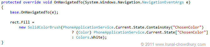 Retrieve Value (WP7 Application State Management Demo)