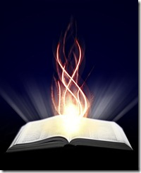Bible with orange flame