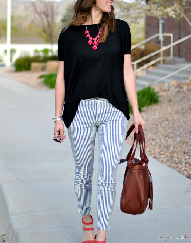 striped pants + black top + coral accessories // www.maybematilda.com