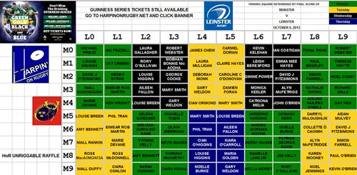 Guinness Series comp final grid