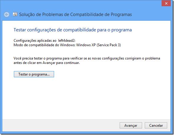Configurações de compatibilidade recomendadas pela solução de problemas