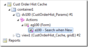 A standalone 'Search' action configured in a confirmation data controller