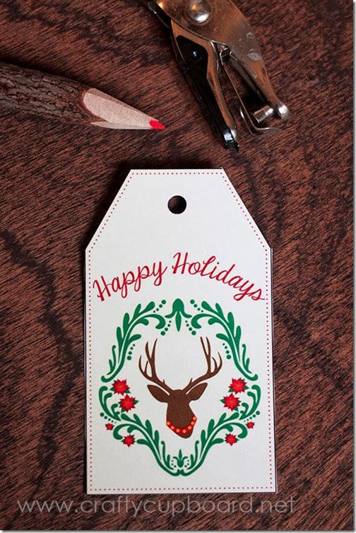 Free Printable Deer Damask Gift Card by The Crafty Cupboard