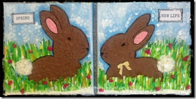 SPRING BUNNIES CANVASES 5 w border