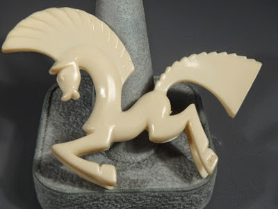 Celluloid horse stallion pin brooch front