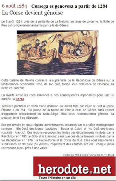 Corsega es genovesa a partir de 1284