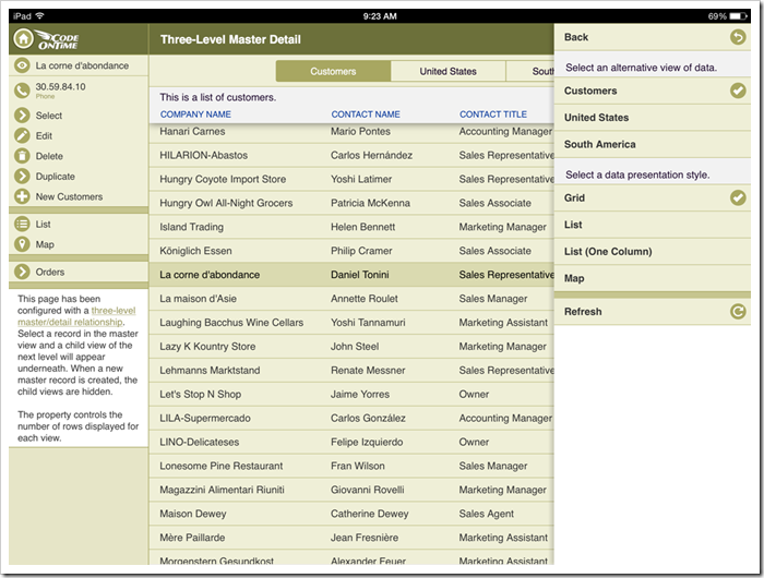 Responsive grid view of an app with Touch UI rendered in iPad Air.